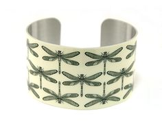 Cuff bracelet, wide bangle with dragonflies, women's nature jewellery - C144 £19.50