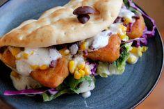 Adventures in All Things Food - Greek Inspired Fish Flat Bread with Tzatziki Sauce using Van de Kamp's Fish Tenders & Birds Eye Corn. Fast & Easy Dinner #FishnVeggies #CBias