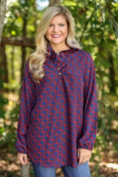 Mrs. Bass Navy And Red Blouse at reddressboutique.com