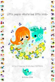 LINEスタンプ可愛い小人たち -不思議な小鳥と一緒に- http://line.me/S/sticker/1375536