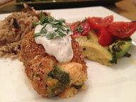 Jalapeno Popper Stuffed chicken. Would have to use gluten free breading crumbs