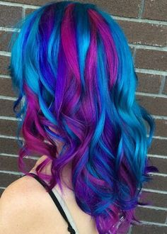 Blue purple streaked dyed hair