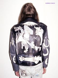 Black and white + artist influence is sick - Claire Barrow painted Guernica jacket