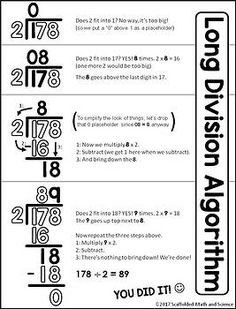Scaffolded Math and Science: Long Division Cheat Sheet This long division reference sheet can help students with the steps of the long division algorithm. The free printable pdf can be enlarged into an anchor chart or slipped into a student math notebook. Teaching Long Division, Math Division, Teaching Math, Kindergarten Math, Long Division Activities, Math Teacher, How To Teach Division, Long Division Strategies, Division Anchor Chart