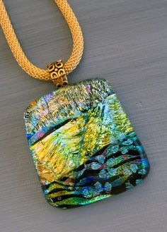 Fused Glass Necklace Dichroic Pendant Fused Glass by GlassCat, $28.00
