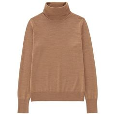 UNIQLO Extra Fine Merino Turtle Neck Sweater (10 colours) (€28) ❤ liked on Polyvore featuring tops, sweaters, long wrap sweater, ribbed sweater, beige sweater, wrap top and turtle neck sweater