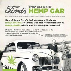 """Henry Ford's 'plastic hemp car' from 1941 We might think that our ethanol and biodiesel """"flex-fuel"""" systems are all very cutting edge, but biofuel development is of course nothing new. Way back in the 1930's, Henry Ford was hard at work in the alt-fuels sector, and in 1941 he constructed a hemp-fueled and hemp-bodied prototype car. The """"plastic"""" body panels were composed of 70% cellulose fibers, including industrial hemp"""