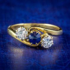 ANTIQUE EDWARDIAN SAPPHIRE DIAMOND TRILOGY TWIST RING 18CT GOLD CIRCA 1905 cover Sapphire Rings, Sapphire Diamond, Blue Sapphire, All Gems, Twist Ring, Free Ring, Diamond Clarity, Antique Jewelry, Diamond Cuts