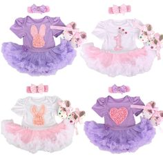 Perfect Baby Girl Easter outfit!!! Adorable for your baby girl's first Easter! The set includes:Bunny Lace Tutu Romper Dress, Headband and Shoes! Due to the popularity of this item, please allow extra