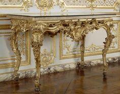 """Andrieux de Benson and Roumier François Bardou. Console table of Louis XV """"Table des Chasses"""" made for les Cabinets du Roi, Château de Versailles. 1736.    Marble, carved and gilt wood.    Château de Versailles. Versailles, France."""