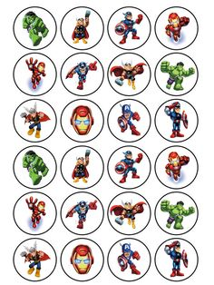 24 x edible superhero squad avengers hulk iron man thor cake cupcake topper Avengers Birthday, Superhero Birthday Party, Man Birthday, Iron Man Cupcakes, Thor Cake, Avenger Cupcakes, Hulk Party, Hulk Avengers, Man Party
