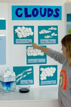 Cloud Science Project - Alice and Lois Some great ideas to learn all about the different types of clouds! Crafts, activities and more!Some great ideas to learn all about the different types of clouds! Crafts, activities and more! Science Projects For Kids, Science Activities For Kids, Science Experiments Kids, Science Classroom, Elementary Science, School Projects, Kindergarten Science Projects, Science Education, Physical Science