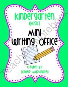Kindergarten (Basic) Mini Writing Office from Krazee4Kindergarten on TeachersNotebook.com (32 pages)
