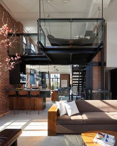 n industrial loft design was meant for an artist and it combines the best of both worlds. A living area and a workshop. This industrial interior loft is a wonde Interior Design Trends, Interior Design Inspiration, Interior Ideas, Room Inspiration, Loft Design, House Design, Design Room, Men Design, Urban Design