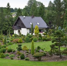 K této zahradě patří i partie pečlivě udržovaného trávníku.