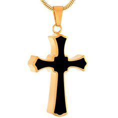 Cremation Jewelry Black Cross Urn Pendant Keepsake Memorial Necklace gold >>> For more information, visit image link.
