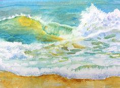 Original Watercolor Ocean Wave Painting by CarlinArtWatercolor
