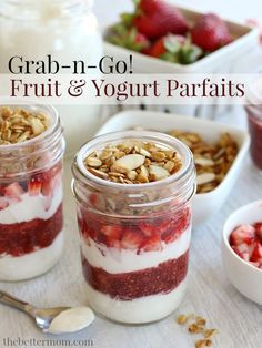 Make-Ahead Fruit & Yogurt Parfaits (GF, DF Options} -- On busy weekday mornings, enjoying a healthy breakfast can be a challenge! That's why these delicious Grab-n-Go Fruit & Yogurt Parfaits are such a blessing. They're so easy to put together and keep well in the fridge for up to a week, making them the ideal breakfast on the run!