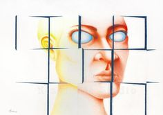 """Puzzled: Falling into Place."" Surreal Art Giclee Print of original colored pencil by Marty Kiser. Simple design, complex and layered image. Graphite Drawings, Pencil Drawings, Blue Mask, Human Head, Prismacolor, Surreal Art, Colored Pencils, Simple Designs, Surrealism"