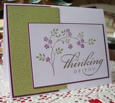 """Image stamp from Stampin' Up """"Thoughts and Prayers. Sentiment from Stampin' Up """"All Year Cheer Scrapbooking, Scrapbook Cards, Thoughts And Prayers Stampin Up Cards, Prayer Cards, Scripture Cards, Beautiful Handmade Cards, Stamping Up Cards, Sympathy Cards, Sympathy Greetings"""