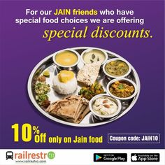 The problems faced by Jain's due to their stringent vegan rules during traveling are immense. We offer to solve them with our diverse options at And to add icing to the cake we are offering a flat off on minimum order of INR 300 with the code Veg Thali, Jain Recipes, Pop Ads, Order Food Online, Tasty, Yummy Food, Train Journey, Biryani, Eating Plans