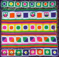 crochet baby blanket CAL patterns for all the squares and more on the blog link