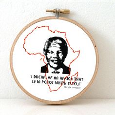 NELSON MANDELA cross stitch pattern with quote and Africa map pattern. African map art. Nelson Mandela poster. Peace on earth. Instant download now for 4,95 at www.studio-koekoek.com