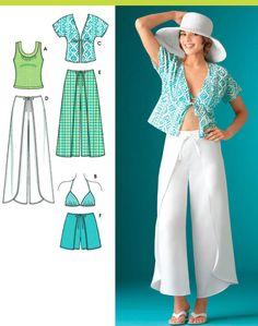 WRAP PANTS Sewing Pattern ~ Kimono Top Shorts Bra & Knit Tops #patterns4you ~ SOLD!
