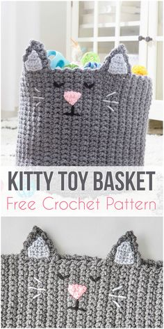 Kitty Toy Basket Free Crochet Pattern