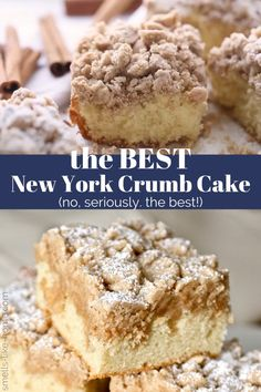New York-style crumb cake: Your search for the perfect crumb cake is over. THIS is the only recipe you'll ever need! With big crumbs and soft, buttery cake, this crumb cake will become an old family favorite in no time. Easy Cake Recipes, Sweet Recipes, Baking Recipes, Dessert Recipes, Baking Desserts, Cake Boss Recipes, Picnic Recipes, Cake Baking, New York Crumb Cake Recipe