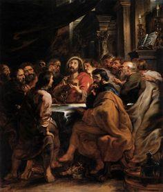 Spe Deus: Durante a Ceia, Jesus tomou o pão, recitou a bênção, partiu-o e deu-o aos seus discípulos