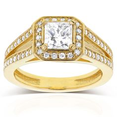 Annello by Kobelli 14k Yellow Gold 1 1/8ct TDW Princess Diamond Octagon Halo Split Band Engagement R (Size 4.5), Women's