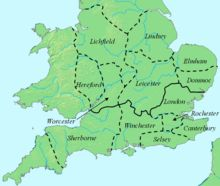 The dioceses of England during Offa's reign. The boundary between the archdioceses of Lichfield and Canterbury is shown in bold.