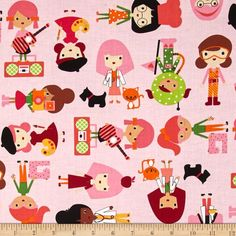 Kaufman Girlfriends Career Girls Garden from @fabricdotcom  Designed by Ann Kelle for Robert Kaufman, this cotton print fabric is perfect for quilting, apparel and home decor accents. Colors include red, orange, pink, black, yellow, green, purple, tan and brown.