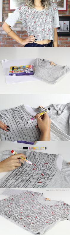 Estampa na camiseta com canetinha para tecido Acrilpen! Veja o vídeo no blog: http://modacustom.com.br/2016/06/27/diy-com-canetinha-para-estampar-tecido/