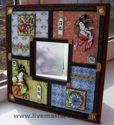 """Купить зеркало """"Гейши"""" - зеркала, объемный декупаж, арт-франчез, гейши, восточный стиль, япония"""