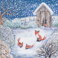 Snowy Foxes by Annabel Spenceley