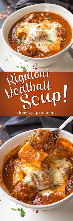 Rich and hearty, this comforting rigatoni meatball soup is a fun take on one of our favorite pasta dishes, complete with creamy mozzarella cheese. | thecozyapron.com #souprecipes #soupsandstews #recipeswithgroundbeef #recipesfordinner #recipeswithgroundbeef #recipesdinner
