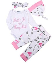 9ed1793c3435 Newborn Girls Clothes Baby Romper Outfit Pants Set Long Sleeve Winter  Clothing (0-6Months