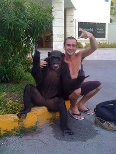 you haven't lived till you're throwing gang signs with a monkey.