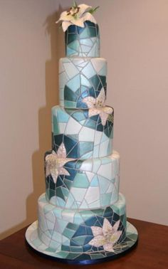 Beautiful Mosaic Cake in different shades of blue