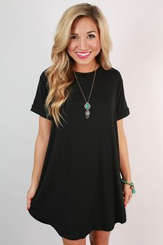 Take a chance on this black t-shirt dress and you won't be disappointed! Dress it up with a glam necklace and wedges, or dress it down with sneakers and a cross body bag!