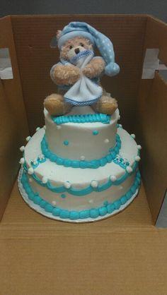 Boy Baby Shower Cake w/ Teddy Bear