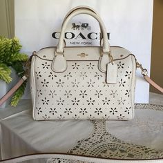 New coach handbag MINI BENNETT SATCHEL  COACH F37619  Details Inside zip, cell phone and multifunction pockets Zip-top closure, fabric lining Handles with 4 drop Longer strap with 23 for shoulder or crossbody wear 9 (L) x 6 1/2 (H) x 5 (W)  COACH MSRP:$375 Coach Bags Shoulder Bags