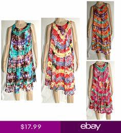 Women Tie Dye Batik Tunic Tops Sun dress Beach Summer Boho KaftanTeen SMLXL d340f7198