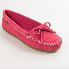 Hello Kitty Moccasins Super cute pink suede moccasins! Great metal bow  detail! Sporty rubber eeaf5cc64