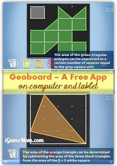 Free app Geoboard makes math and geometry fun, kids can also use it to learn counting, art creation, fine motor practice, ... #kidsapps #FreeApps