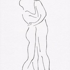 Two nude figures kissing. Minimalist ink drawing of erotic embrace. Man and woman. Drawings for bedroom gallery wall. Romantic line art.