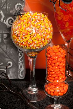Halloween Candy Buffet (reminds me that cheese puffs would be an affordable option)