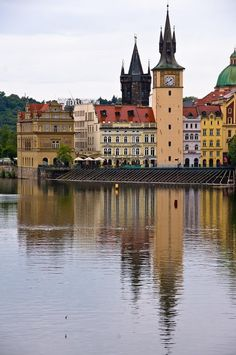 Old Town tower (left) of the Charles bridge and Old Water-tower (right) in Prague, Czechia